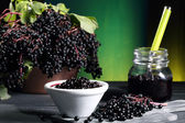 Elderberry sambucus green background — Stock Photo