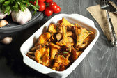 Fried chanterelles — Stock Photo