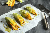 Zucchini flower stuffed — Stock Photo