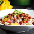 Salad beans green background — Stock Photo