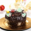 Christmas chocolate cake white background — Stock Photo