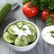 Salad with cucumber and yogurt — Stock Photo