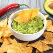 Guacamole and nachos — Stock Photo