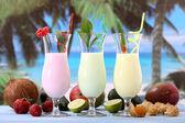 Fruit cocktail exotic background — Stock Photo