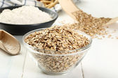Rye flour in bowl — Stock Photo
