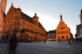 Rothenburg ob der Tauber, Market Square and Town Hall — Stock Photo
