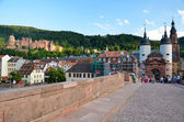 Heidelberg, panoramic view of the bridge and castle 1 — Stock Photo