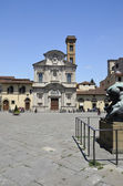 The sqare Ognissanti and Church of Ognissanti, Florence — Stock Photo