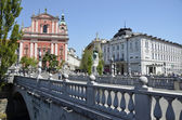 Triple Bridge and Franciscan Church, Ljubljana 3 — Stock Photo