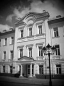 Sumy Ukrainian Academy of Banking, black and white, lomo effect — Stock Photo
