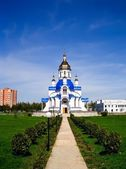 Southern entrance to the Church of St. Valentine, Sumy, Ukraine — Stock Photo