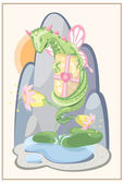 Floral green dragon with a gift and delicate flowers — Stock Vector