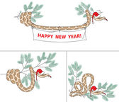 Snake with christmas hat and spruce — Stock Vector