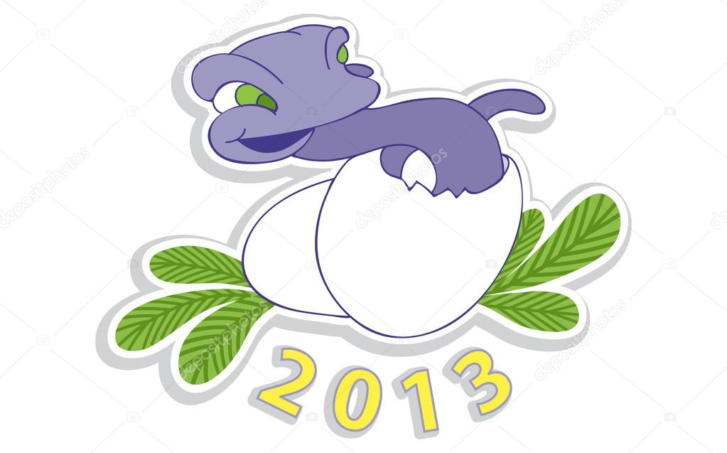 Little funny newborn snakes hatched from eggs. Symbol of year 2013 — Stock Vector #16950961