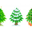 Spruce in summer and winter and christmas — Stock Vector #18082091