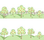 Alberi da frutto e un campo di fiori a bordo senza soluzione di continuità orizzontale — Vettoriale Stock