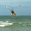 Flying a kite surfer — Stock Photo