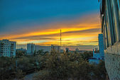 TV tower at sunset in Orenburg city, Russia — Stock Photo