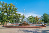 Big fountain in Orenburg city, Russia — Stock Photo