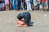 Street actor on the Dam Square, Amsterdam — Stock Photo
