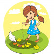 Girl feed chickens - Stock Vector
