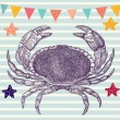 Illustration with crab - Imagens vectoriais em stock