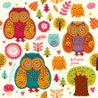 Stock Vector: Background wiht owls