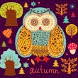 Background wiht owls — Stock Vector