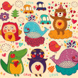 Background with funny animals — Stock Vector