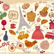 Vector set of Paris symbols — Imagen vectorial