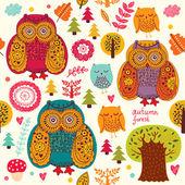 Background wiht owls — Stock Vector
