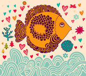 Background with fish — Stock Vector