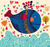 魚との背景 — ストックベクタ