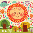 Happy decorative sun - Image vectorielle