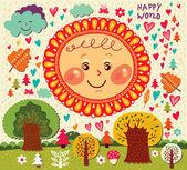 Happy decorative sun — Stock Vector