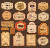La recogida de vectores: etiquetas de la vendimia y retro — Vector de stock