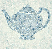 Vintage background with tea pot — Stock Vector
