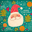Stock Vector: Christmas illustration with funny Santa Claus