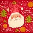 Christmas illustration with funny Santa Claus — Stock Vector