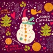 Christmas Greeting Card with snowman. Vector illustration. - ベクター素材ストック