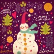 Christmas Greeting Card with snowman. Vector illustration. - Stock Vector