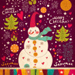 Christmas Greeting Card with snowman. Vector illustration. — Stock Vector