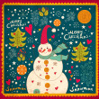 Christmas Greeting Card with snowman. Vector illustration. - Stok Vektör