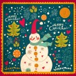 Christmas Greeting Card with snowman. Vector illustration. - Imagen vectorial