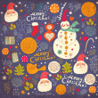Christmas Greeting Card with snowman. Vector illustration. - Stock vektor