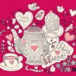 Vector art hand drawn holiday card with cupcake and teapot — Stock vektor