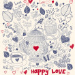 Royalty-Free Stock Vectorielle: Vector art hand drawn holiday card with cupcake and teapot