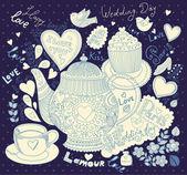 ベクトル アート手描きカップケーキとティーポット ホリデー カード — ストックベクタ