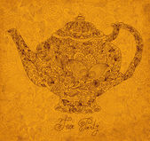 Vintage ornamental teapot with retro background — Stock Vector