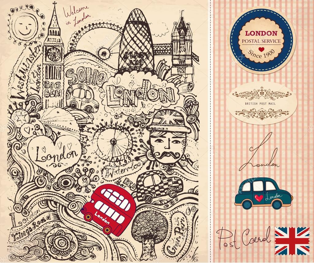 伦敦旅游路线图手绘